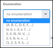 Enumeration drop-down menu.