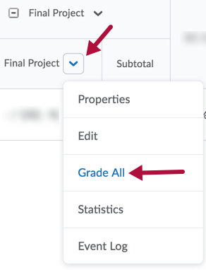 Grade All option under context menu of grade item