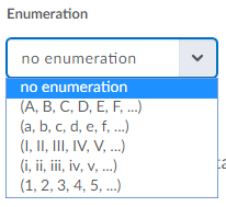 Shows enumeration choices.