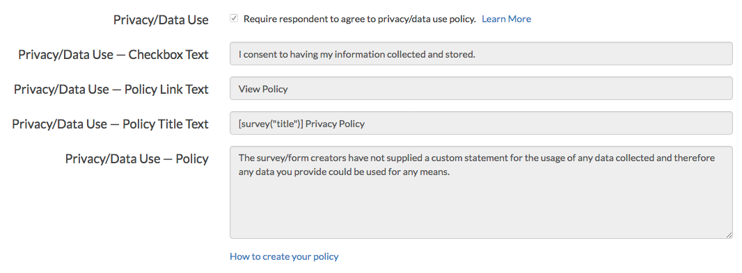 Survey Data Use Policy Fields - Read-Only