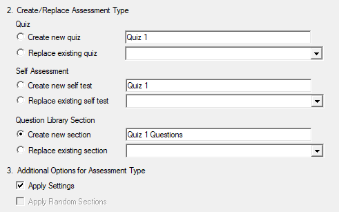 Displays Create Assessment Type options