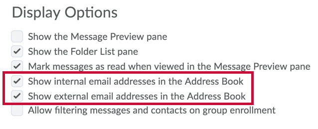 Identifies Show Internal and Show External email addresses in Display Options
