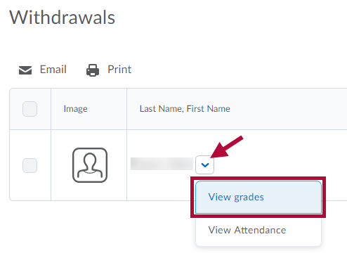Displays View Grades option in context menu