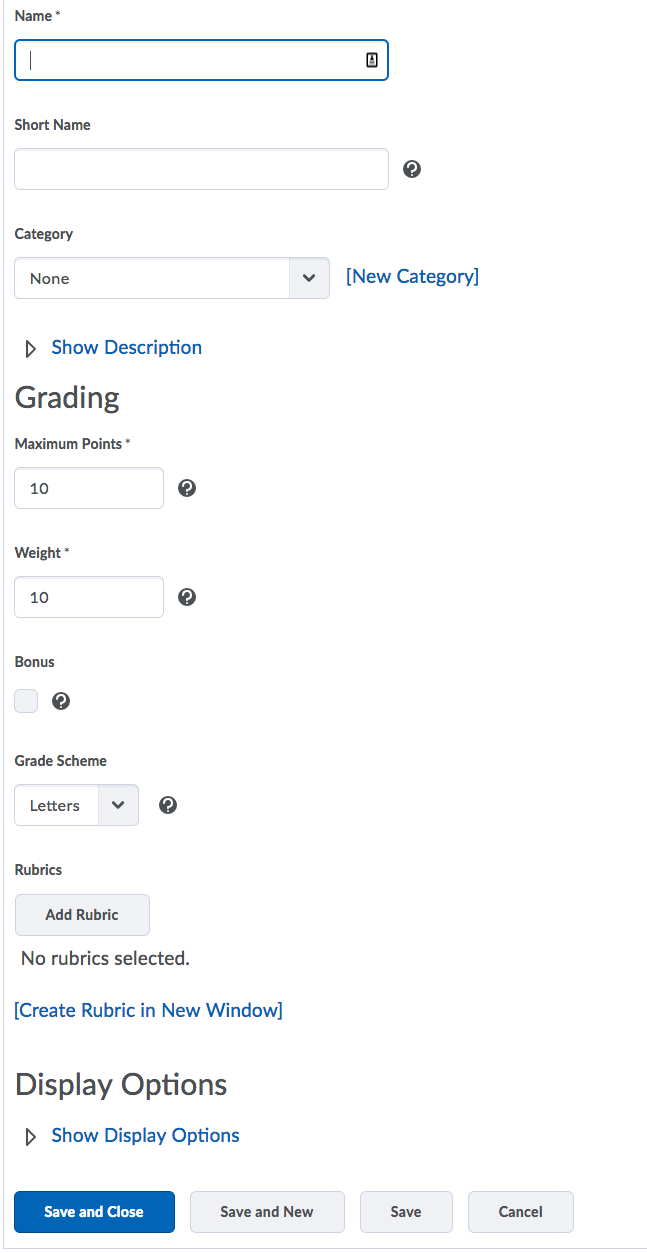 Shows Grade Item options