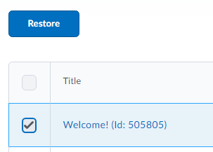 Selected annoucement with Restore button