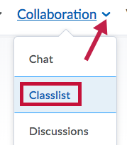 Identifies Classlist and Indicates drop down arrow