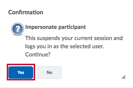 Identifies Yes button on confirmation screen