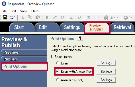 Identifies the Preview & Publish tab, the Print Options tab and the Exam with Answer Key option.