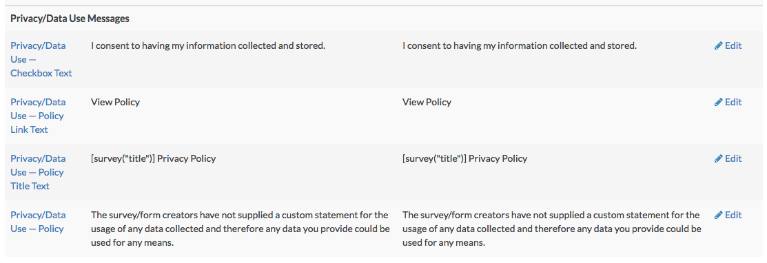 Translate Privacy/Data Use Policy Fields