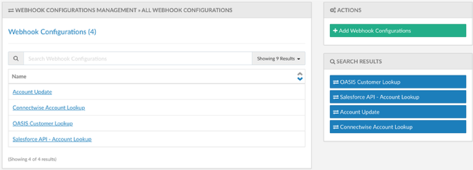 Figure 01 Webhook Configurations Management