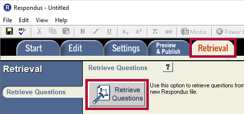 Identifies the Retrieval tab and the Retrieve Questions button.