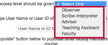 Access level option on Add a User Form