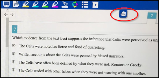 SBAC Test Read&Write 12 toolbar extended