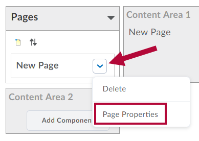 Indicates Drop Down arrow and Identifies Page Properties.