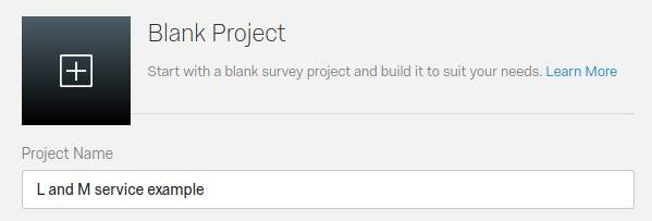 Qualtrics survey create project element with Project Name text area. Content is