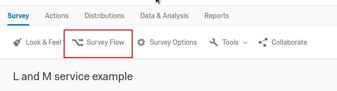 Qualtrics survey editor 'Survey Flow' nav bar item highlighted.
