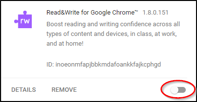 Read&Write for Google Chrome Disabled Screenshot