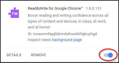 Read&Write for Google Chrome Enabled