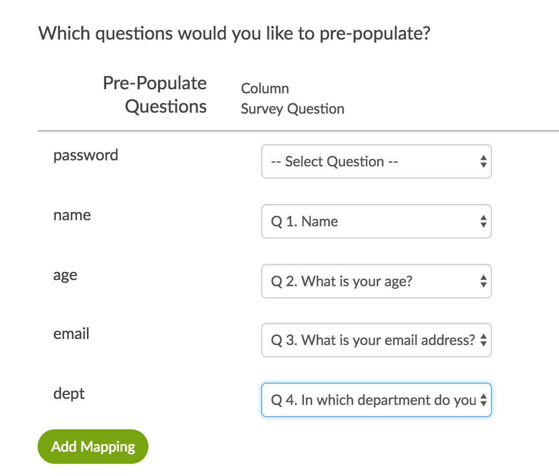 Get Data Into A Survey Through Pre Population Surveygizmo Help