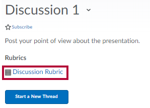 identifies the discussion rubric.