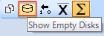 SentryOne Show Empty Disks toolbar button