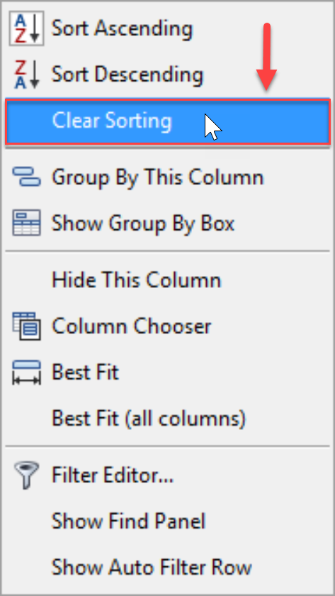 DW Sentry Show Auto Filter Row context menu