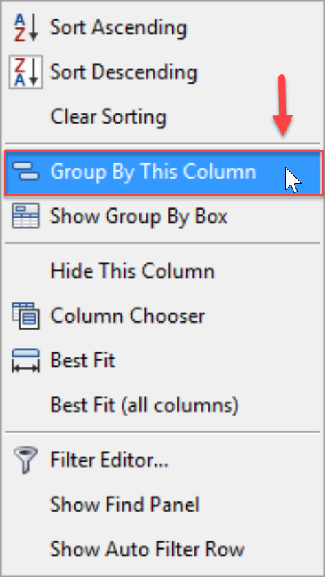 DW Sentry Group By This Column context menu