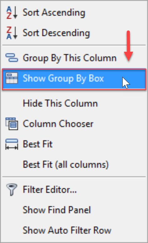 DW Sentry Show Group by box context menu