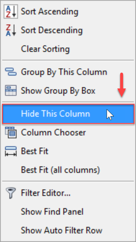 DW Sentry Hide This Column context menu