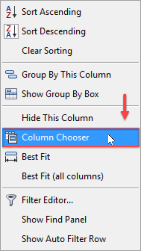 DW Sentry Column Chooser context menu