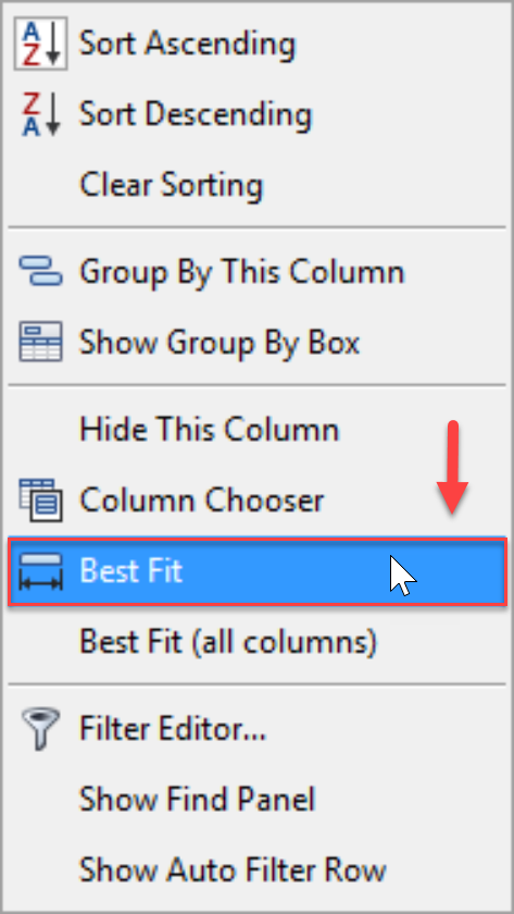 DW Sentry Best Fit context menu