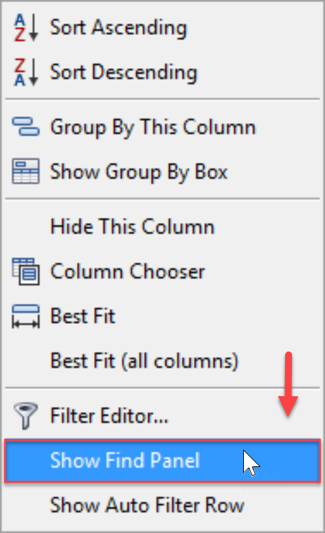 DW Sentry Show Find Panel context menu