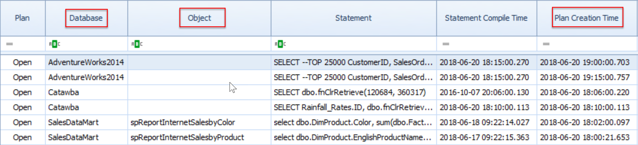 SentryOne Query Plans default columns