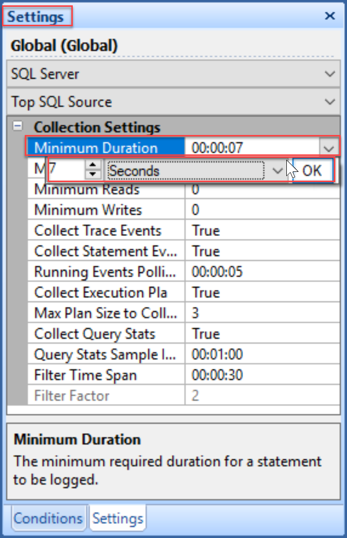 SentryOne set Minimum Duration settings globally in the Settings pane
