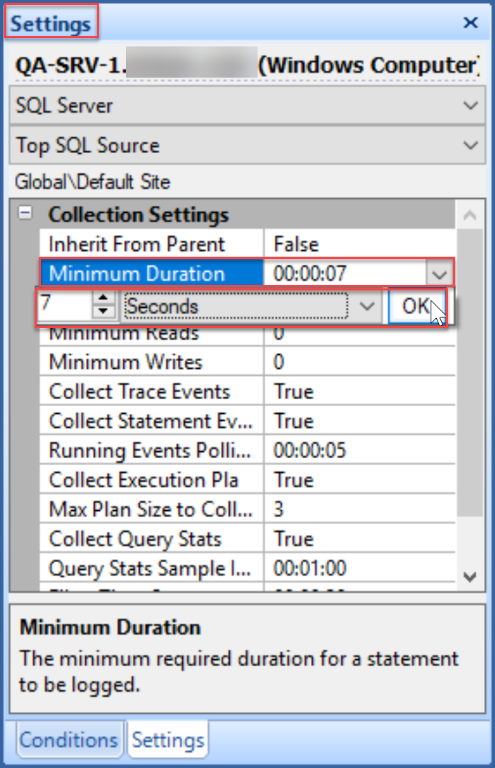 SentryOne set Minimum Duration setting in Settings pane
