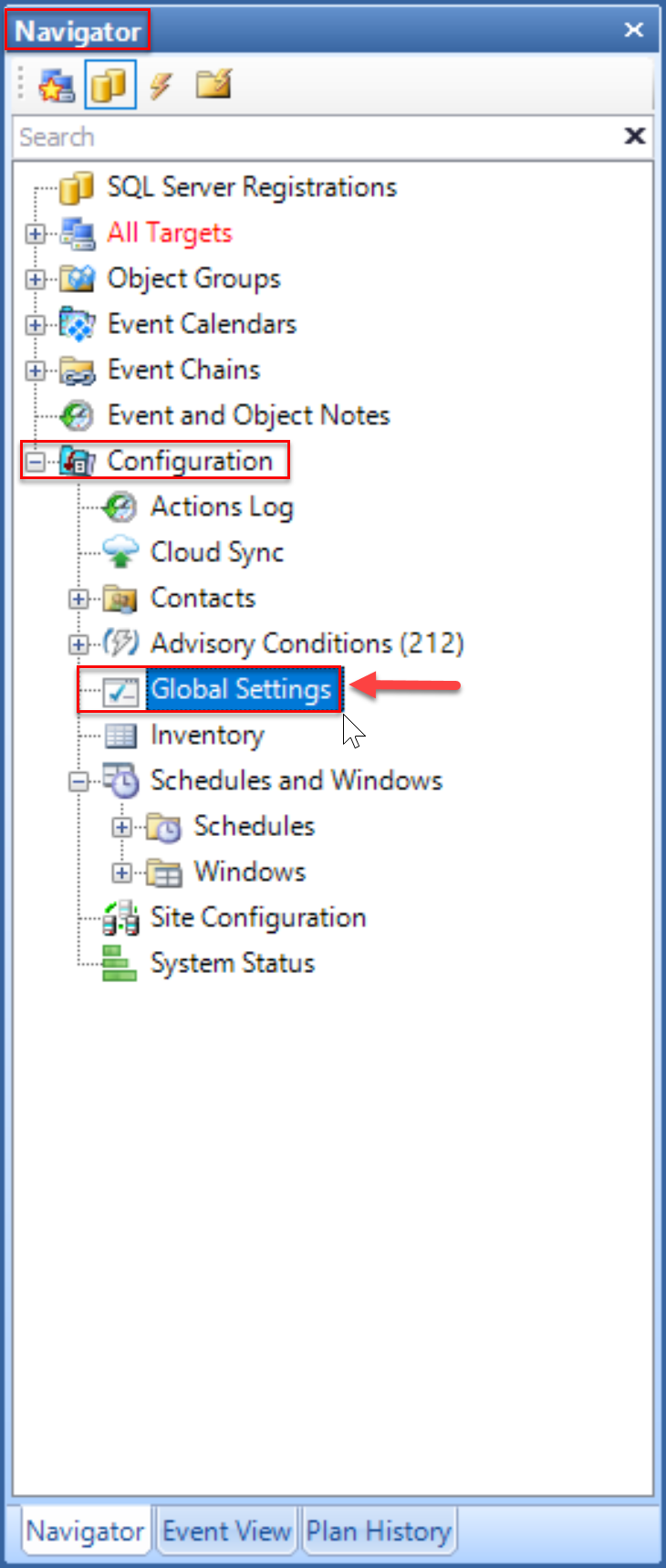 SentryOne select Global Settings in the Navigator pane