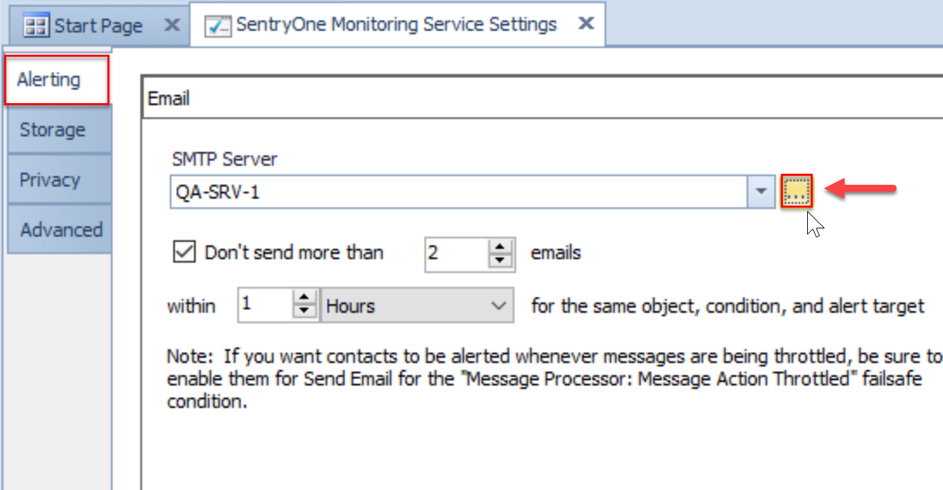 SentryOne Monitoring Service Settings Alerting tab