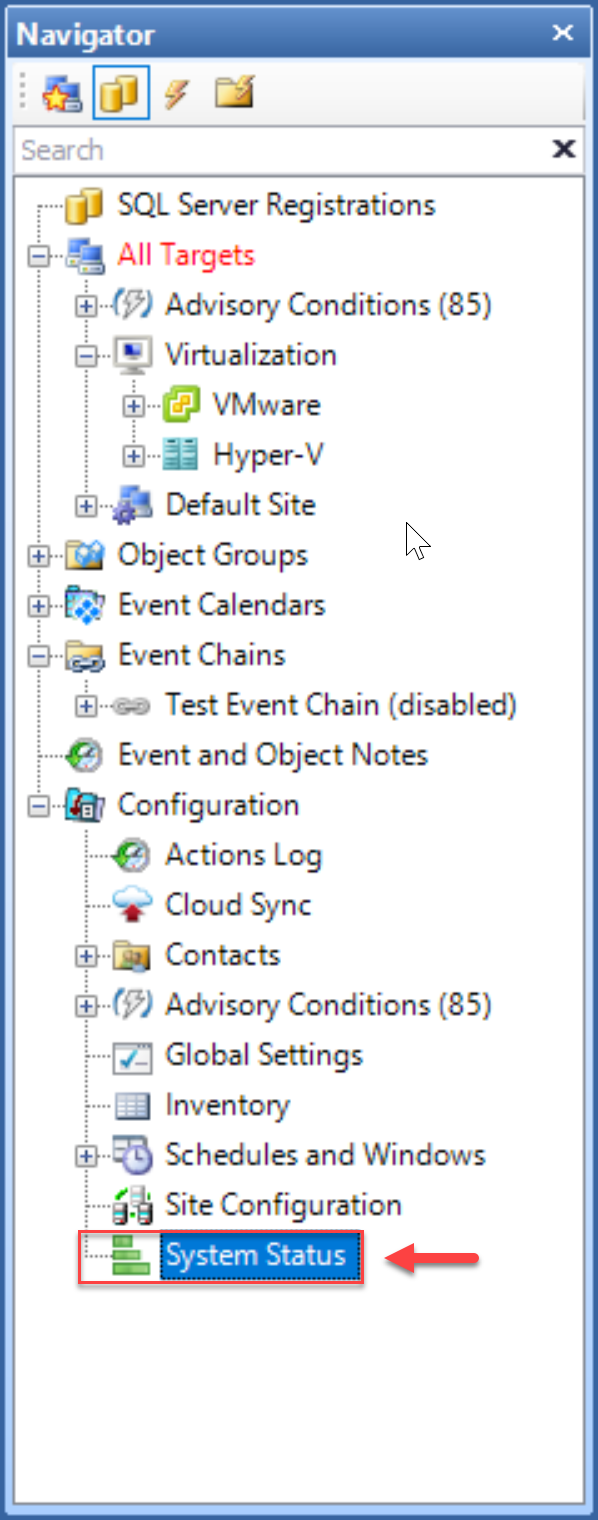SentryOne select System Status in the Navigator pane