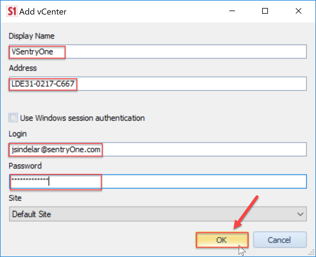 SentryOne Add vCenter dialog box