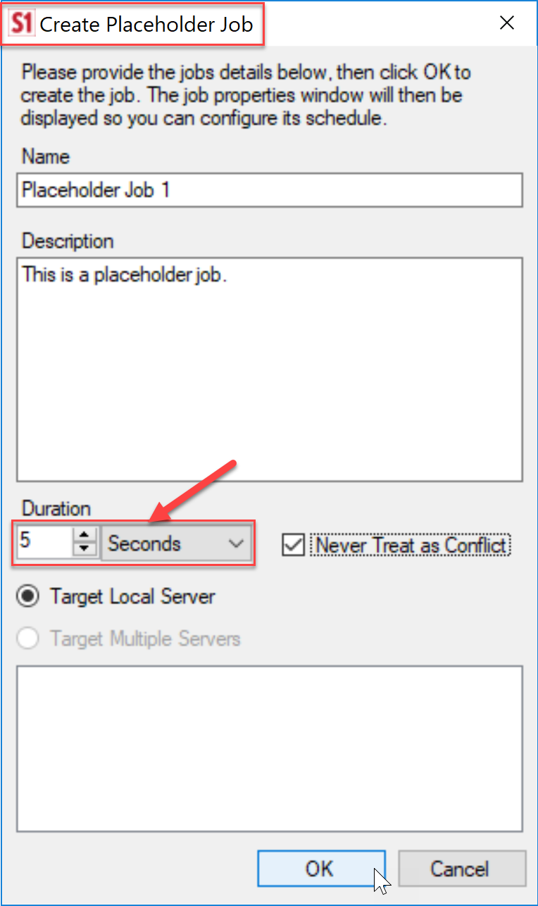 SentryOne Create Placeholder Job dialog box