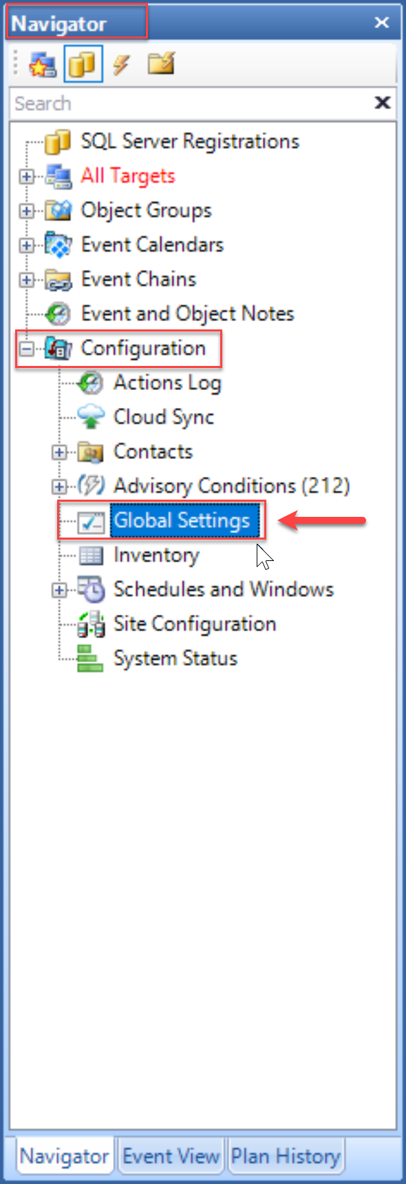 SentryOne select Global Settings in the Navgiator