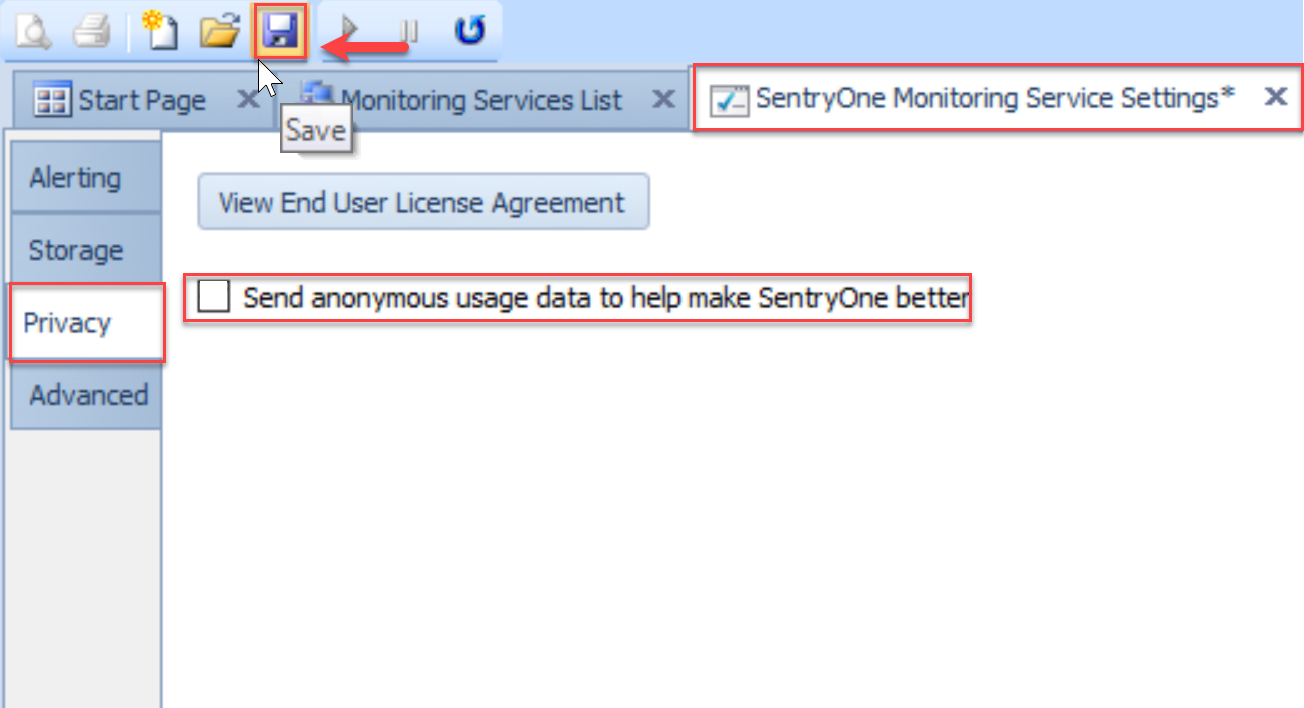 SentryOne Monitoring Service Settings Privacy tab Send Anonymous Usage data checkbox