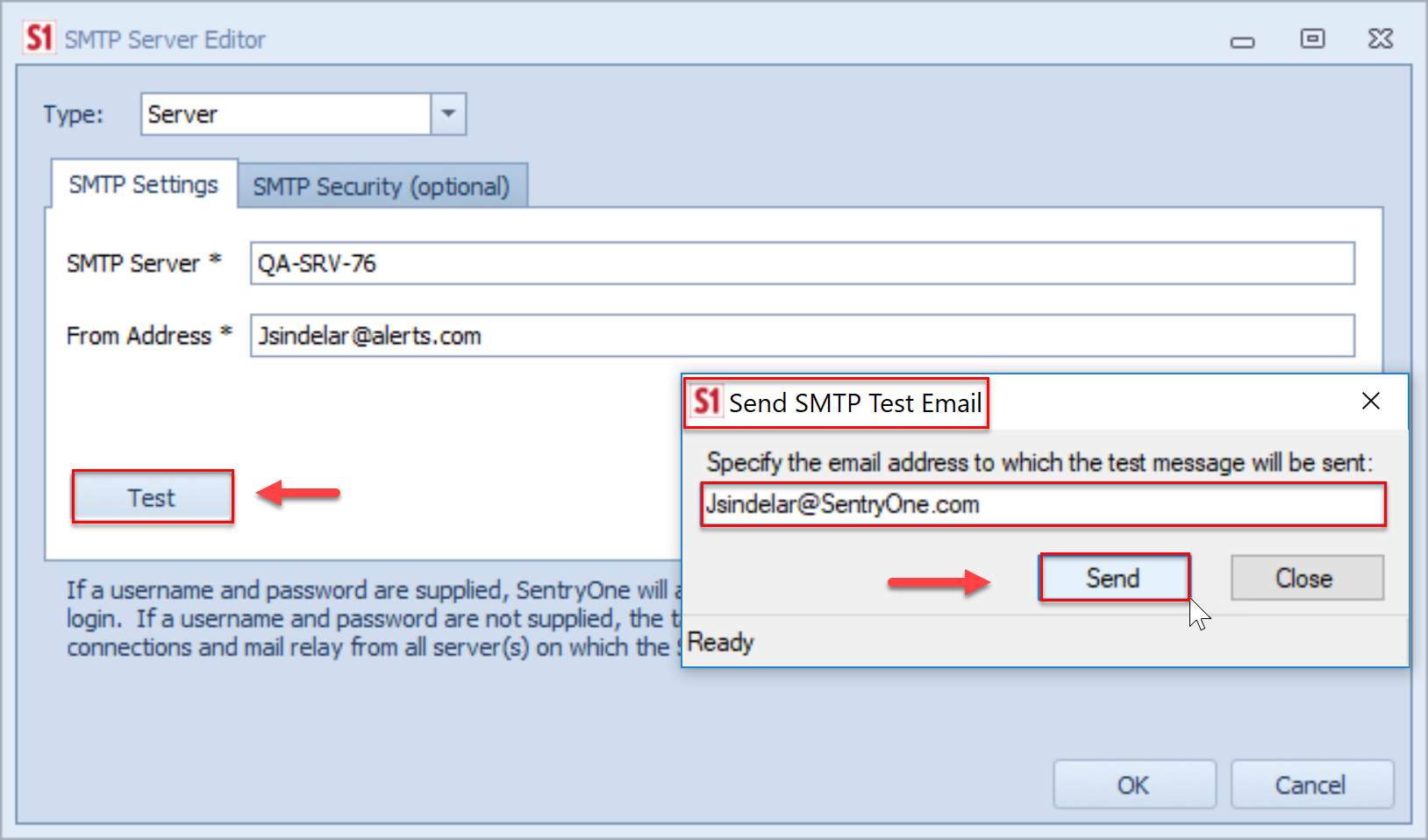 SentryOne SMTP Server Editor Send SMTP Test Email