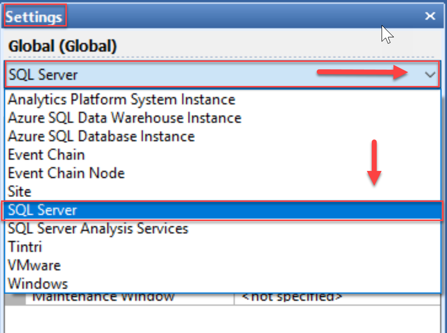 SentryOne Settings pane SQL Server Settings