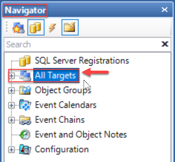 SentryOne select All Targets in the Navigator