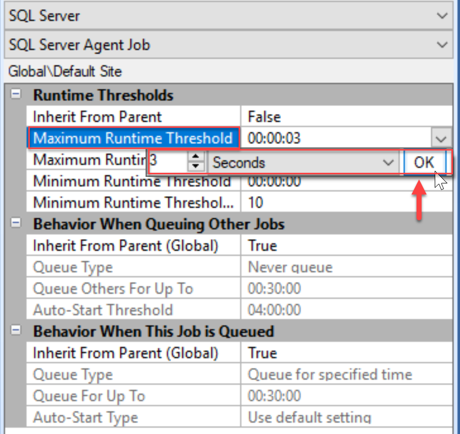 SentryOne Settings pane Maximum Runtime Threshold