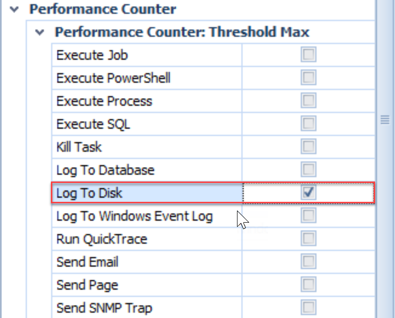 SentryOne Log To Disk action