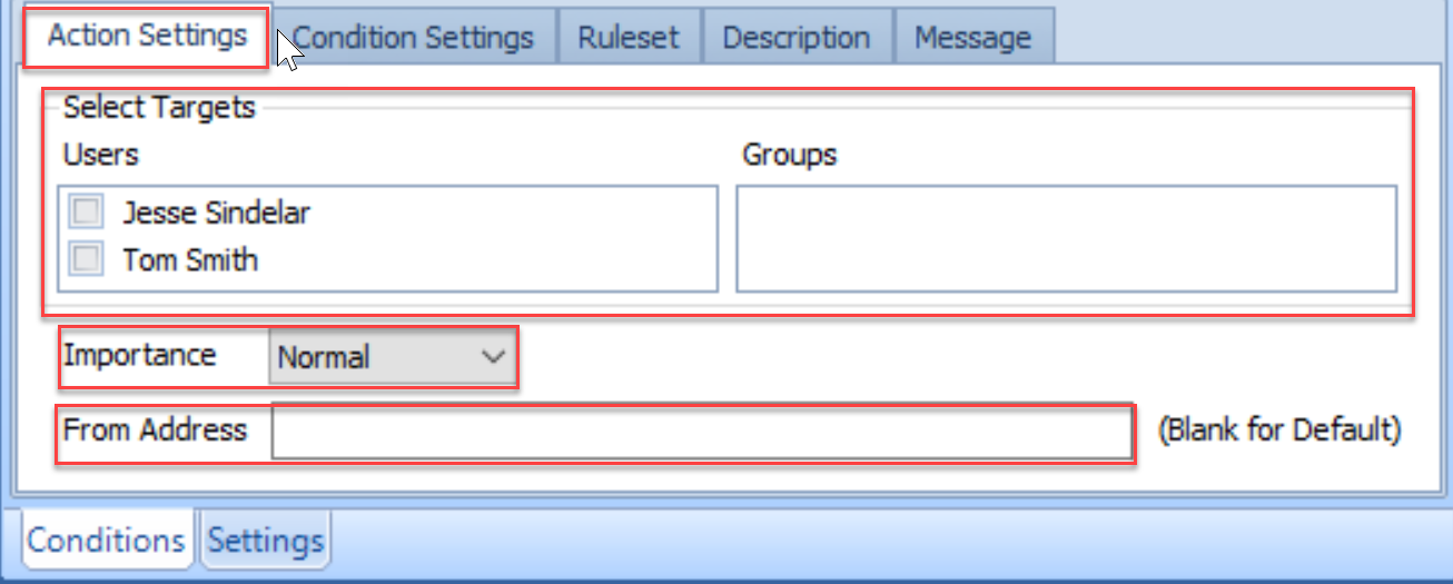 SentryOne Conditions pane Action Settings Select Targets