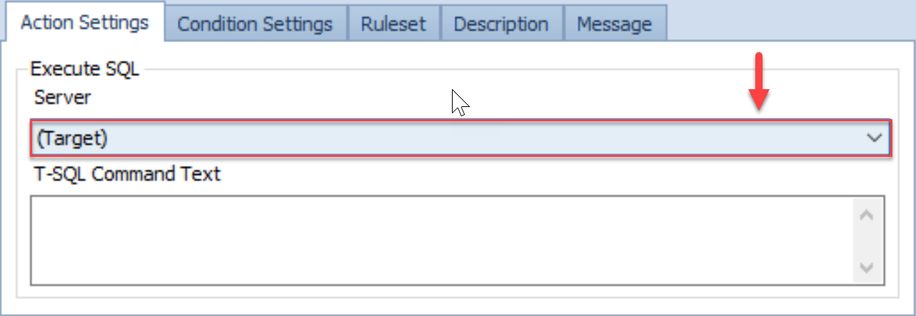 SentryOne Conditions pane Action Settings Execute SQL
