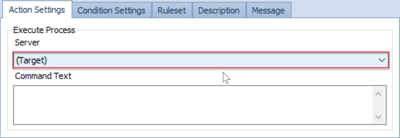 SentryOne Conditions pane Action Settings Execute Process